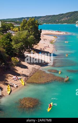 Lake of Sainte-Croix, Verdon Natural Regional Park,  Alpes-de-Haute-Provence (04), Provence-Alpes-Cote d'Azur region, France. - Stock Photo
