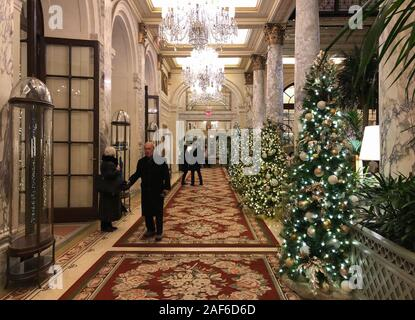 New York, USA. 10th Dec, 2019. View into the lobby of the Plaza Hotel at Central Park in Manhattan. (Zu dpa: 'Once upon a time in New York - Christmas time in the movie set') Credit: Benno Schwinghammer/dpa/Alamy Live News Stock Photo