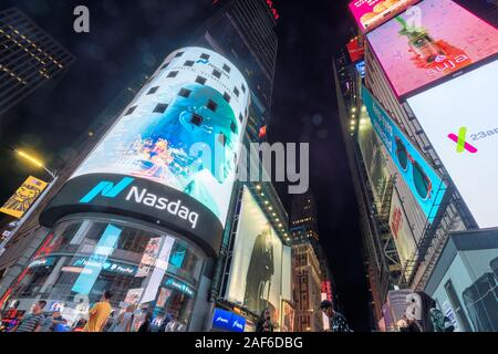 NASDAQ building in Time Square at night