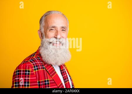 Closeup profile photo of cool look grandpa guy stylish beard came to romance date in new suit wear hipster tartan blazer tie clothes isolated yellow - Stock Photo