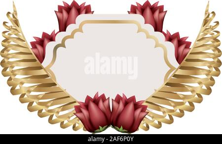 Isolated tropical leaves with flowers vector design - Stock Photo