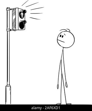 Vector cartoon stick figure drawing conceptual illustration of man or pedestrian waiting for green light on street traffic light on crossing. - Stock Photo
