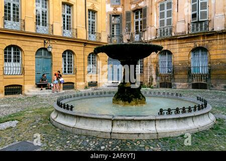 Fountain on Place d'Albertas Square, Aix-en-Provence, France, Europe - Stock Photo