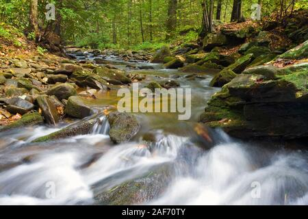 A fall view of Desoto Falls in the Chattahoochee Forest, Georgia, USA. - Stock Photo