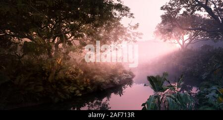 Fantasy evening sunset in jungle paradise. Dense rainforest vegetation, calm pond in misty volumetric light. 3d rendering. - Stock Photo