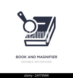 book and magnifier icon on white background. Simple element illustration from Education concept. book and magnifier icon symbol design. Stock Photo