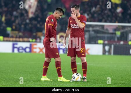 Cengiz Under and Jordan Veretout during the UEFA Europa League Group J football match between AS Roma and Wolfsberger AC at the Stadio Olimpico Staduim.Final score; AS Roma 2:2 Wolfsberger AC. - Stock Photo