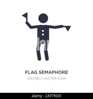 flag semaphore language icon on white background. Simple element illustration from People concept. flag semaphore language icon symbol design. - Stock Photo