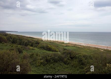 View over Omaha Beach from Widerstandsnest 62 (WN 62), Colleville-sur-Mer, Normandy, France - Stock Photo