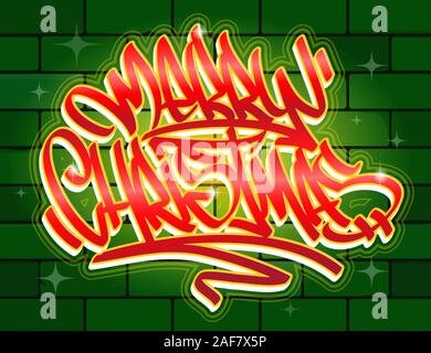 Merry Christmas lettering greeting card in graffiti style in vibrant colors on brick wall background. - Stock Photo