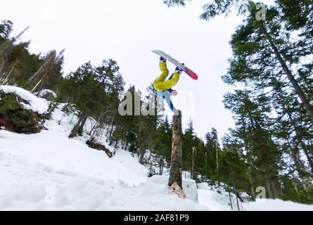 Snowboarder freerider standing on a dry log in a jump from a snow ramp in a background of forest and mountains. - Stock Photo