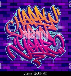 Happy New Year card in graffiti style with vibrant colors on brick wall background. Vector lettering. - Stock Photo