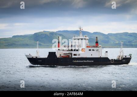 MV Coruisk car and passenger ferry operated by Caledonian MacBrayne sailing across the Sound of Mull to Oban in Scotland - Stock Photo