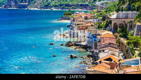 Traditional colorful houses and sea in Scilla village,Calabria,Italy. - Stock Photo