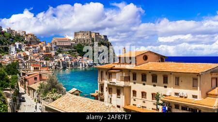 Beautiful Scilla village,view with sea,traditional houses and Ruffo castle,Calabria,Italy. - Stock Photo