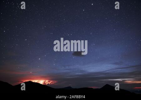 Starry night. Majestic Carpathian mountains. Beautiful landscape. Breathtaking view - Stock Photo
