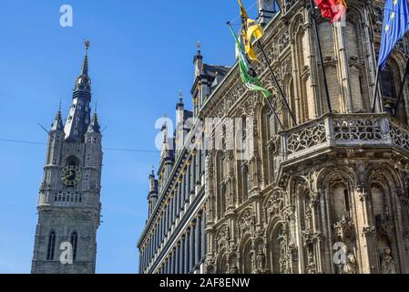 Belfry and the 16th century Ghent town hall / city hall's - De Keure Aldermen's House - in Late Gothic style, East Flanders, Belgium - Stock Photo