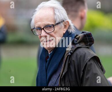 London, UK. 13th December 2019. 2019 Politicial commentators arrive at College Green Westminster London to talk to the media after the General Election  Pictured: Ken Loach, Veteran English film maker and social commentator Credit Ian DavidsonAlamy Live News Stock Photo