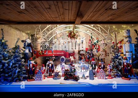 Vilnius, Lithuania - December 09, 2019: European Christmas market stall in Vilnius Cathedral square, Lithuania - Stock Photo