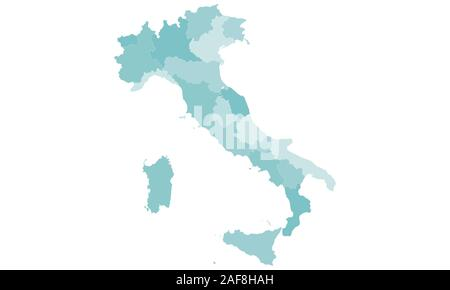 Map of Italy vector colorful, with countries, borders, High detailed, editable, - Stock Photo