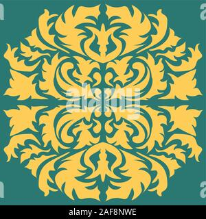 Damask seamless floral pattern. Royal wallpaper. Flowers, leaves on a green background. EPS 10. - Stock Photo