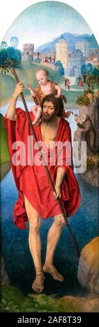 Saint Christopher by Hans Memling (c.1430/1440-1494), oil on panel, c. 1479-1480. The painting once formed the back panel of a portable triptych. - Stock Photo