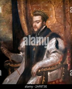 King Philip II of Spain (1527-1598) by Titian, oil on canvas, c.1555 - Stock Photo
