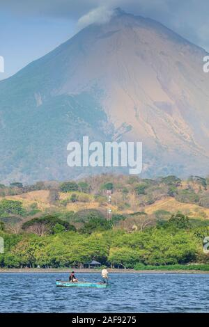 View of Concepcion volcano and the shoreline of Ometepe Island in Lake Nicaragua, Central America - Stock Photo