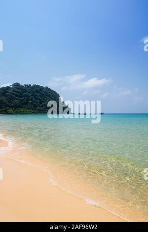 An empty beach on Koh Rong Sanloem Island, Cambodia - Stock Photo
