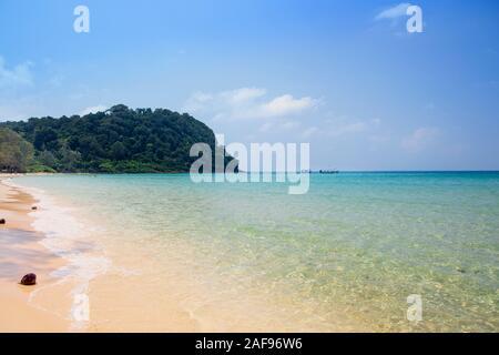 An empty beach on Koh Rong Samloem Island, Cambodia - Stock Photo