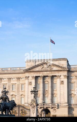The facade of Buckingham Palace, official residence of the Queen in central London, England, UK - Stock Photo