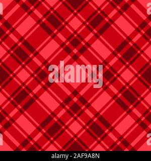 Red checkered seamless pattern. Vector plaid fabric abstract backdrop. Trend Christmas and New Year color design texture background - Stock Photo