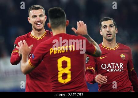Edin Dzeko of Roma celebrates with Diego Perotti after scoring 2-1 goal during the UEFA Europa League, Group J football match between AS Roma and Wolfsberg AC on December 12, 2019 at Stadio Olimpico in Rome, Italy - Photo Federico Proietti/ESPA-Images - Stock Photo