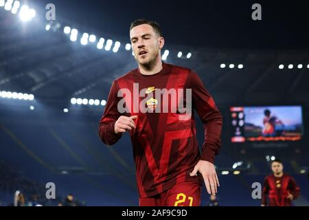 Jordan Veretout of Roma at the end of the warm up before the UEFA Europa League, Group J football match between AS Roma and Wolfsberg AC on December 12, 2019 at Stadio Olimpico in Rome, Italy - Photo Federico Proietti/ESPA-Images - Stock Photo