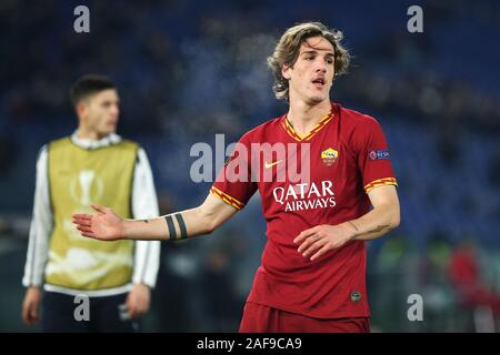 Nicolo' Zaniolo of Roma reacts during the UEFA Europa League, Group J football match between AS Roma and Wolfsberg AC on December 12, 2019 at Stadio Olimpico in Rome, Italy - Photo Federico Proietti/ESPA-Images - Stock Photo