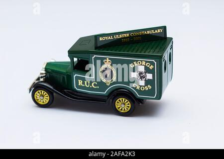 29 November 2019 Model T Ford die cast Scale Model Van collectible in the livery of now non existent Royal Ulster Constabulary celebrating their Georg - Stock Photo