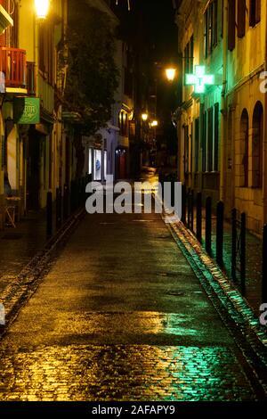 Night view in the streets of Saint-Jean de Luz, Pyrénées-Atlantiques, France