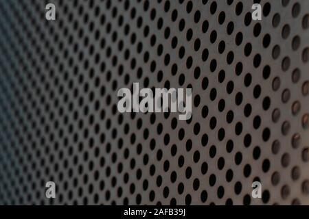 Urban Industrial Background Of Perforated Metal. Minimalistic and Futuristic Material. Contemporary Construction - Stock Photo