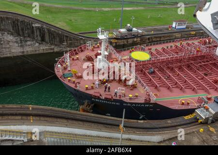 Panama - 11/6/19: A view of a oil chemical freighter ship called the Ardmore Seahawk going through the Panama Canal. - Stock Photo