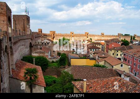 City wall of the town of Montagnana, Padua, in northern Italy, The medioeval fortification surraunds all the old historical city