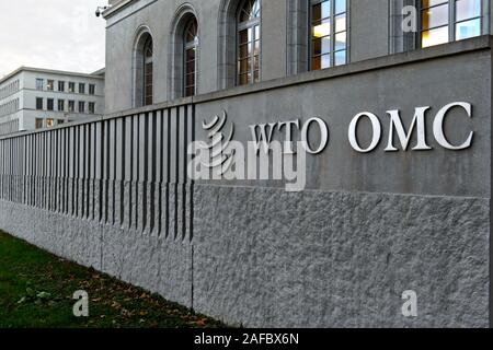High walls surrounding the headquarters of the World Trade Organization, WTO, at the Centre William Rappard, Geneva, Switzerland - Stock Photo