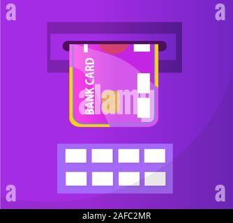 ATM with a bank card icon, flat design. ATM isolated on white background. Vector illustration, clip art - Stock Photo