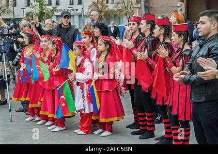 Dnipro, Ukraine - September 29, 2018: Armenian and Azerbaijani diaspora in celebration in honor of 100th anniversary of Dnipro Academic Music and Dram - Stock Photo