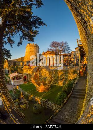 Inside Trsat fort during sunset time golden-Yellow glow on interior town Rijeka in Croatia Europe - Stock Photo