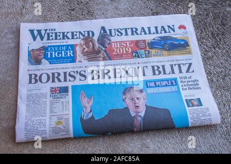 Adelaide, Australia. 15 December 2019. Prime Minister Boris Johnson is featured on the front page of The Australian weekend edition after the UK general election victory. Credit: Amer Ghazzal/Alamy Live News