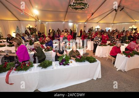 Washington, United States Of America. 11th Dec, 2019. Second Lady Karen Pence decorates Christmas wreaths with congressional spouses Wednesday, Dec. 11, 2019, at the Vice PresidentÕs Residence in Washington, D.C People: Second Lady Karen Pence Credit: Storms Media Group/Alamy Live News - Stock Photo