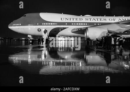Washington, United States Of America. 10th Dec, 2019. President Donald J. Trump boards Air Force One at Joint Base Andrews, Md. Tuesday, Dec. 10, 2019, en route to Hersey, Pa. People: Credit: Storms Media Group/Alamy Live News - Stock Photo