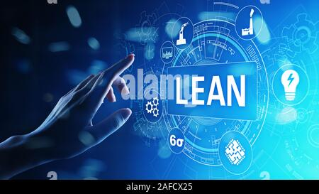 Lean, Six sigma, quality control and manufacturing process management concept on virtual screen - Stock Photo