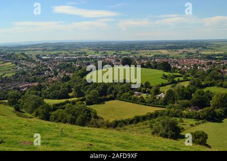 View across the Isle of Avalon, from the top of Glastonbury Tor, Glastonbury, Somerset, England, UK. - Stock Photo