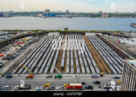 West Side Yard view from'The Vessel'at the Hudson Yards in the Borough of Manhattan in New York. The Hudson River is appreciated on this western view. - Stock Photo